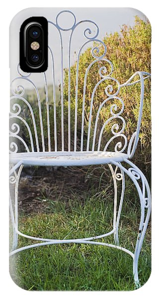 White Metal Garden Chair Phone Case by Noam Armonn