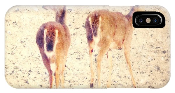 White Tailed Deer iPhone Case - White Tails In The Snow by Amy Tyler
