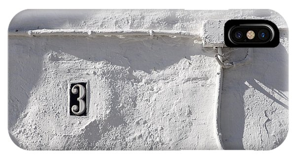 White Wall With Number 3 Plate IPhone Case