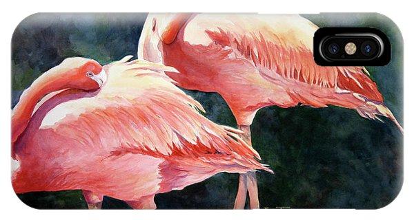Who's Peek'n - Flamingos IPhone Case