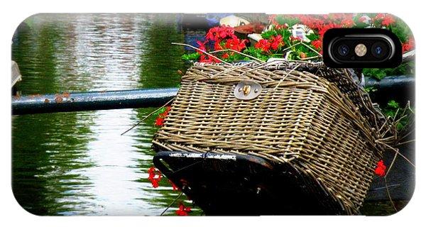 Wicker Bike Basket With Flowers IPhone Case