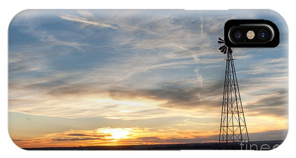 Windmill And Sunset IPhone Case