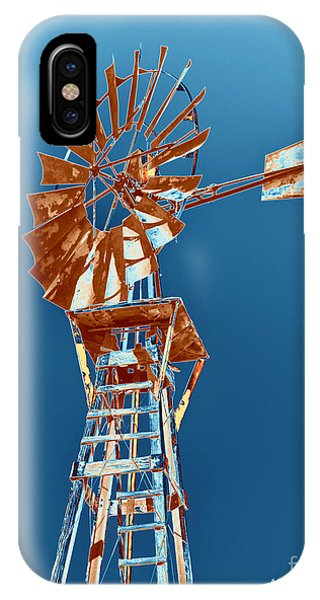 Windmill Rust Orange With Blue Sky IPhone Case
