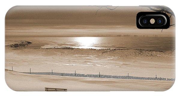 Winter Beach Morning Sepia IPhone Case