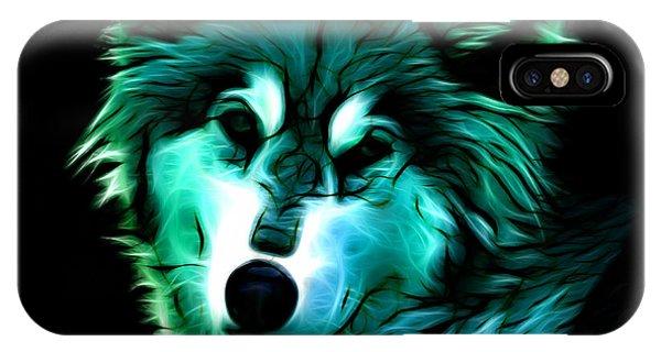 Wolf - Cyan IPhone Case