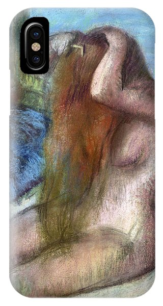 Toilet iPhone Case - Woman Doing Her Hair by Edgar Degas