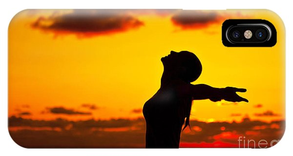 Woman Silhouette Over Sunset Phone Case by Anna Om