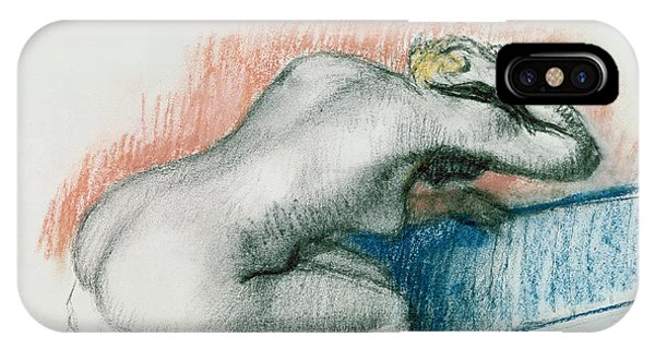 Pastel Pencil iPhone Case - Woman Washing In The Bath by Edgar Degas