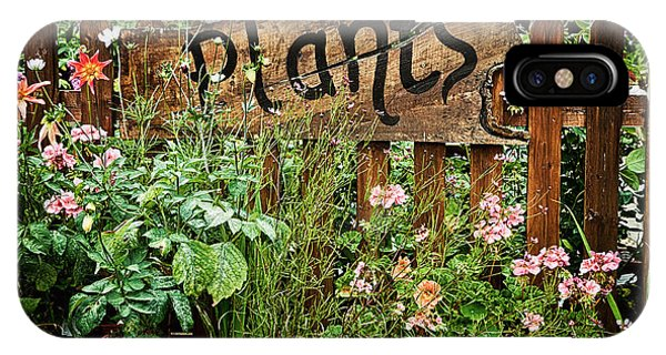 Garden iPhone X Case - Wooden Plant Sign In Flowers by Simon Bratt Photography LRPS