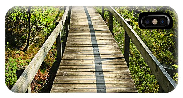 Hiking Path iPhone Case - Wooden Walkway Through Forest by Elena Elisseeva