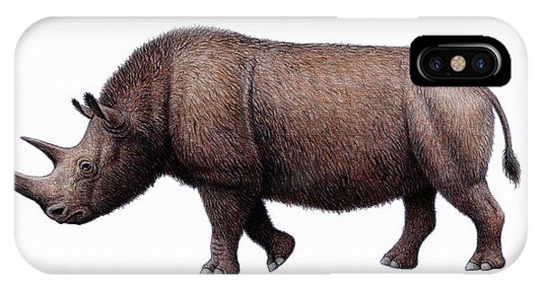 Woolly Rhinoceros, Artwork Phone Case by Mauricio Anton