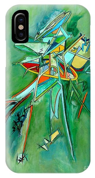 Contemporary Green Colorful Plane Abstract Composition Phone Case by Marie Christine Belkadi