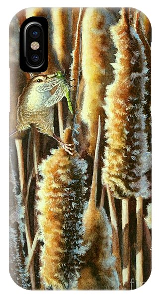Wren And Cattails 2 IPhone Case