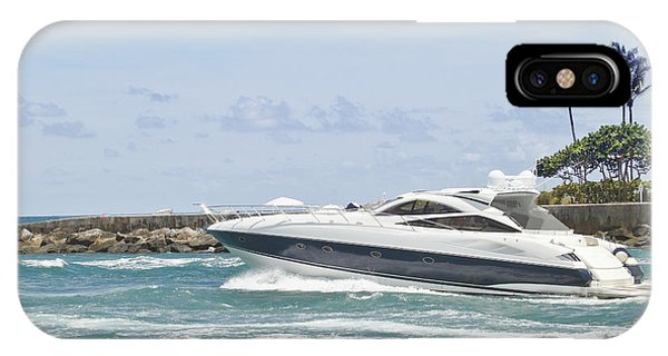 Powerboat iPhone Case - Yacht In Inlet by Rudy Umans