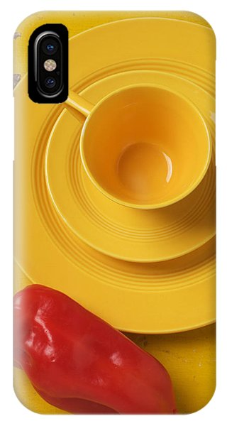 Saucer iPhone Case - Yellow Cup And Plate by Garry Gay