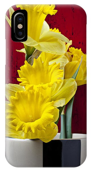 Yellow Trumpet iPhone Case - Yellow Daffodils In Checkered Vase by Garry Gay