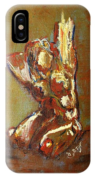 Yellow Orange Expressionist Nude Female Figure Statue Coming Alive Bold Anatomy Painting IPhone Case