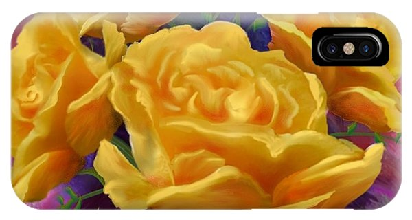 Yellow Roses Floral Art Phone Case by Judy Filarecki