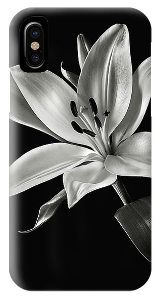 Yellow Tiger Lily In Black And White IPhone Case