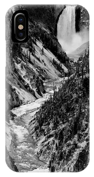 Yellowstone Waterfalls In Black And White IPhone Case