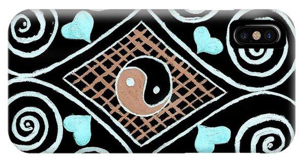 Yin Yang Swirls On Black Phone Case by Jeannie Atwater Jordan Allen