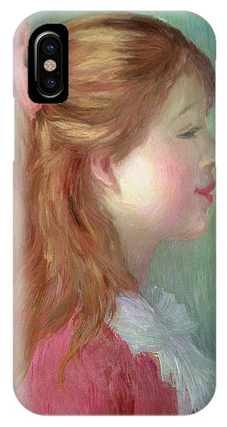 Girls In Pink iPhone Case - Young Girl With Long Hair In Profile by Pierre Auguste Renoir