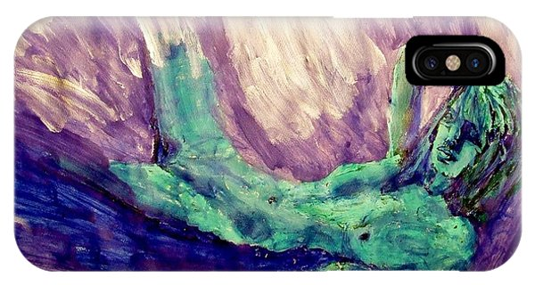 Young Statue Of Liberty Falling From Grace Female Figure Portrait Painting In Green Purple Blue IPhone Case