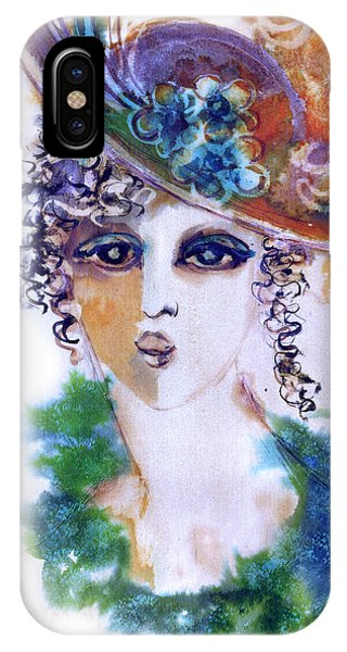 Young Woman Face With Curls In Blue Green Dress Purple Hat With Flower  IPhone Case