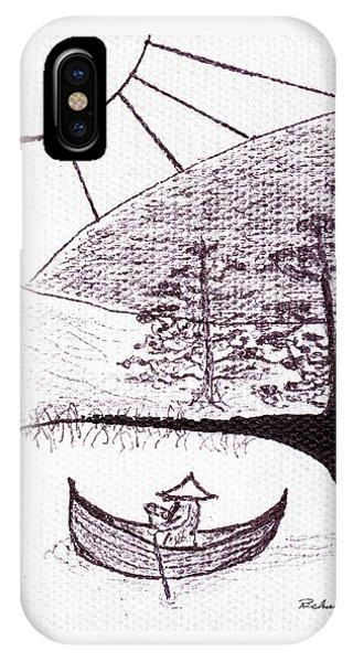 Zen Sumi Asian Lake Fisherman Black Ink On White Canvas IPhone Case