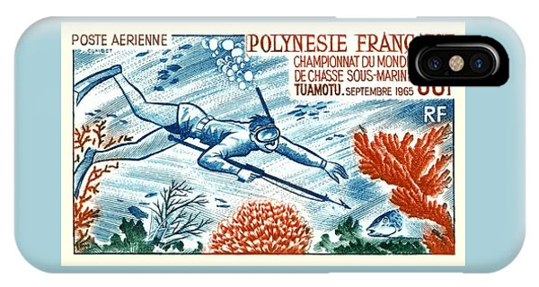 Scuba Diving iPhone Case -  1965 French Polynesia Spearfishing Postage Stamp by Retro Graphics