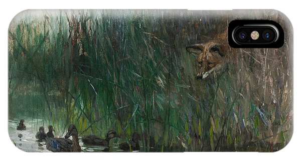 Swedish Painters iPhone Case -  A Flock Of Ducks And A Sneaky Fox by Bruno Liljefors