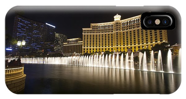 Bellagio Fountain In Las Vegas At Night IPhone Case