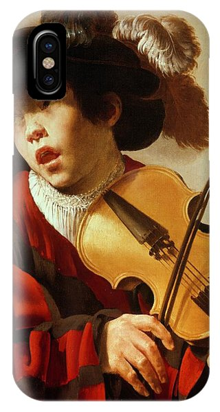 Violin iPhone X Case -  Boy Playing Stringed Instrument And Singing by Hendrick Ter Brugghen