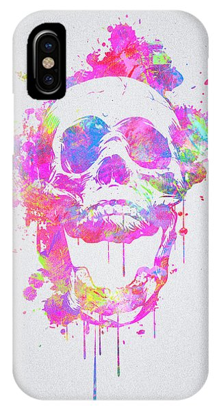 Illusion iPhone Case -  Cool And Trendy Pink Watercolor Skull by Philipp Rietz