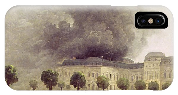 Accident iPhone Case -  Fire At The Opera House Of The Palais Royal by Hubert Robert