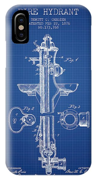 Fire Hydrant Patent From 1876 - Blueprint IPhone Case