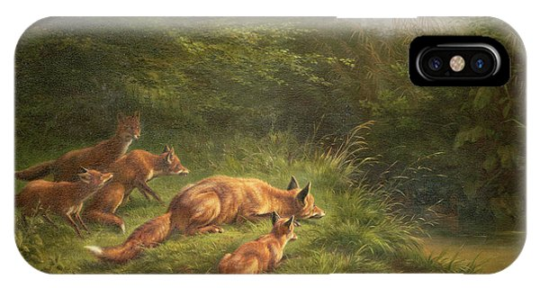 Wood Ducks iPhone Case -  Foxes Waiting For The Prey   by Carl Friedrich Deiker