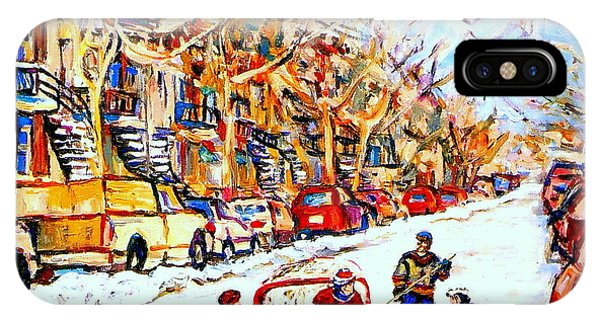 Hockey Game On Colonial Street  Near Roy Montreal City Scene IPhone Case