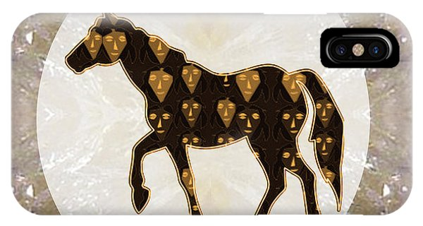 Rights Managed Images iPhone Case -  Horse Prancing Abstract Graphic Filled Cartoon Humor Faces Download Option For Personal Commercial  by Navin Joshi