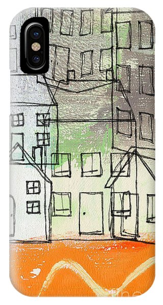 Abstract Landscape iPhone Case -  Houses By The River by Linda Woods