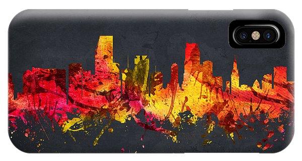 Miami Skyline iPhone Case -  Miami Cityscape 07 by Aged Pixel