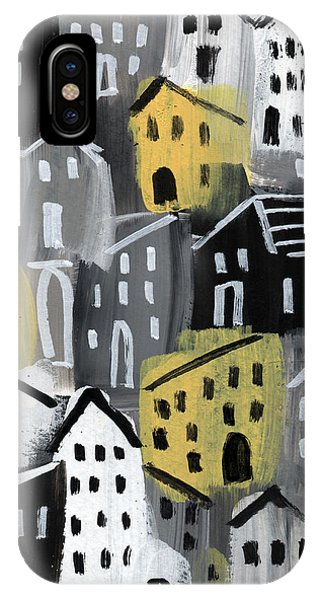 Town iPhone Case -  Rainy Day - Expressionist Art by Linda Woods