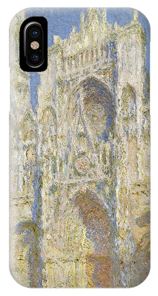 Porch iPhone Case -  Rouen Cathedral West Facade Sunlight by Claude Monet