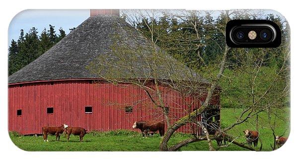 Round Red Barn IPhone Case