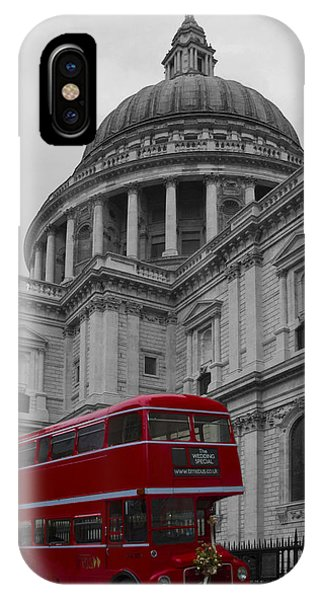 St Pauls Cathedral Red Bus IPhone Case