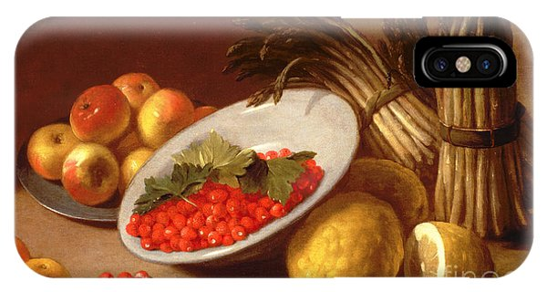 Asparagus iPhone Case -  Still Life Of Raspberries Lemons And Asparagus  by Italian School
