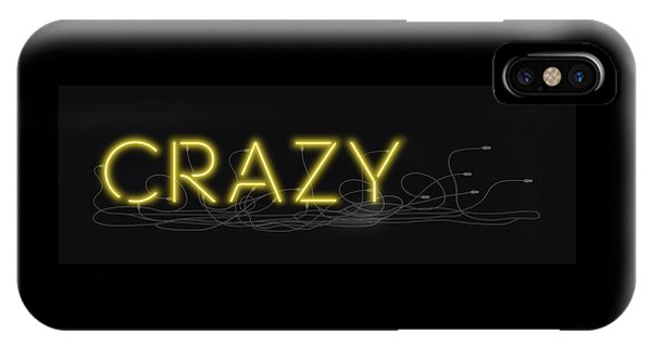 Crazy - Neon Sign 3 IPhone Case