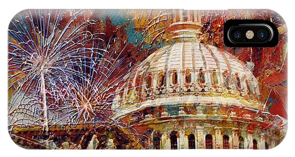 Capitol Building iPhone Case - 070 United States Capitol Building - Us Independence Day Celebration Fireworks by Maryam Mughal