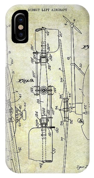 Helicopter iPhone X Case - 1935 Helicopter Patent  by Jon Neidert