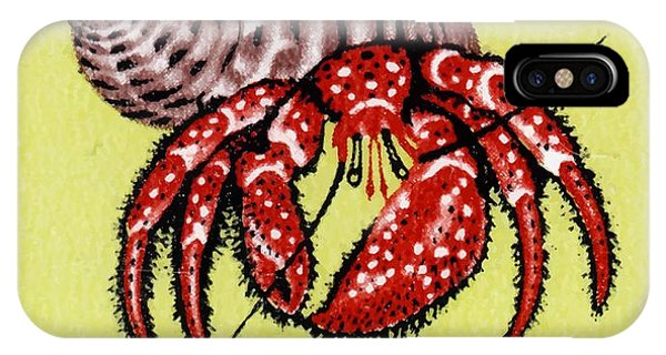 Reef iPhone Case - 1966 Australia Hermit Crab Postage Stamp by Retro Graphics